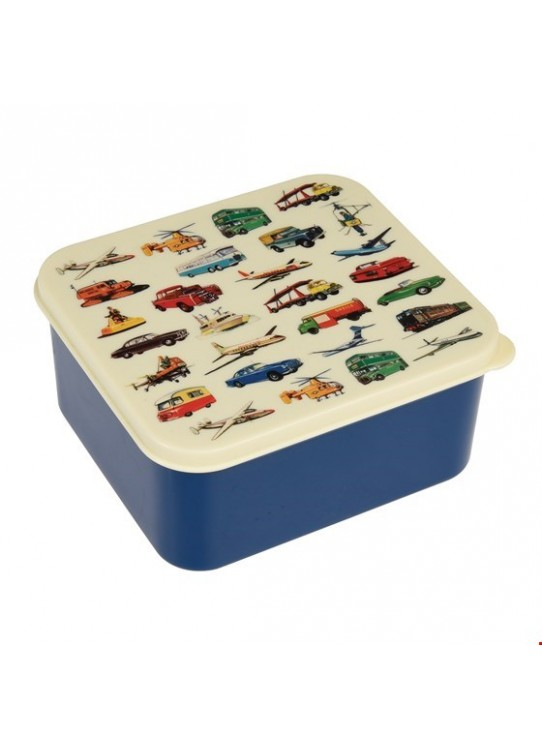 BLUE VINTAGE TRANSPORT LUNCH BOX | REX LONDON
