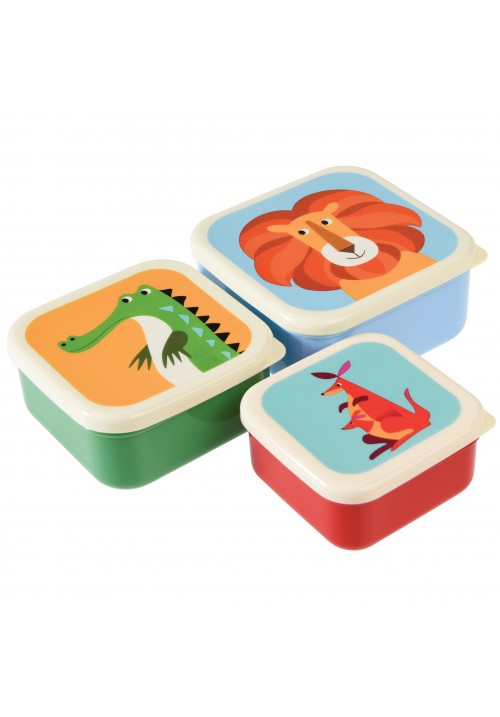 SET OF 3 COLOURFUL CREATURES SNACK BOXES | REX LONDON